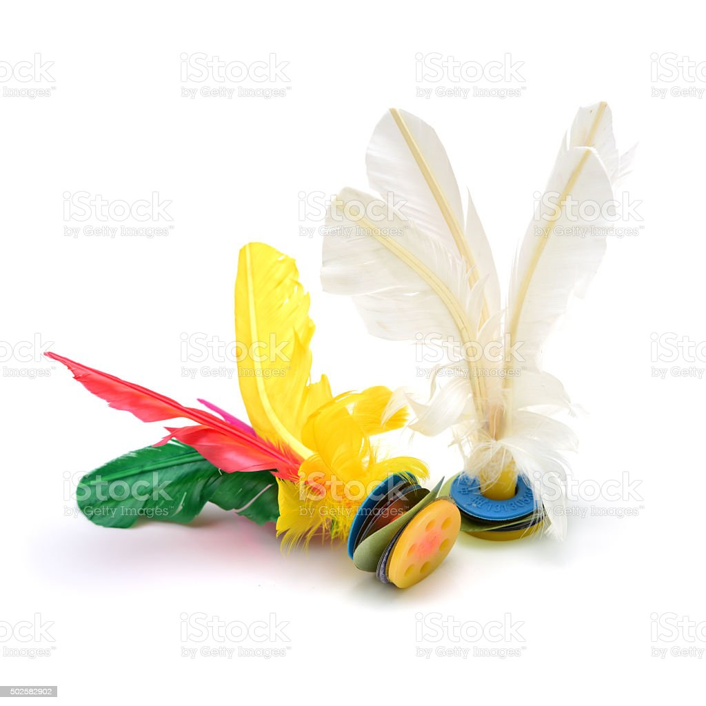 Very nice feather shuttlecock production. stock photo