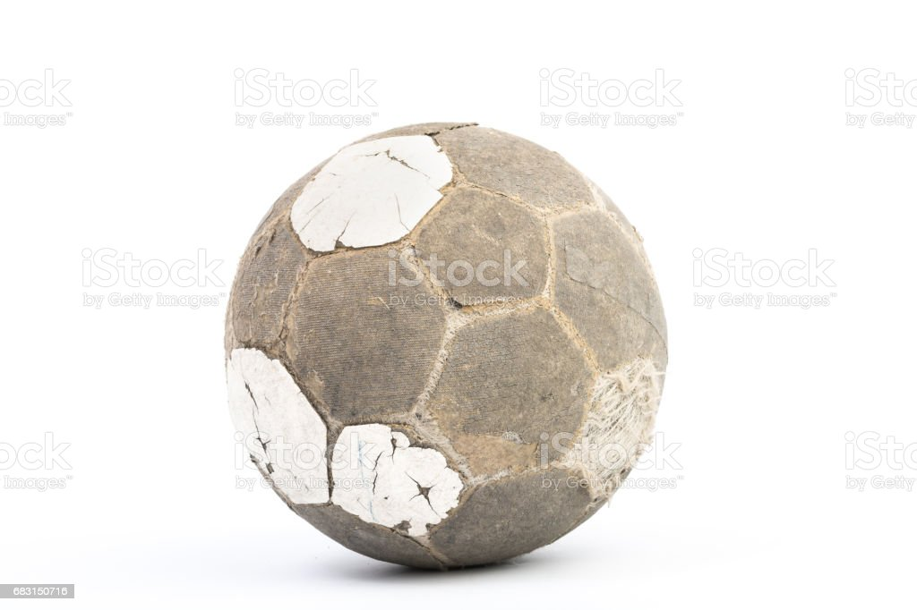 Very old ball for soccer Isolated stock photo