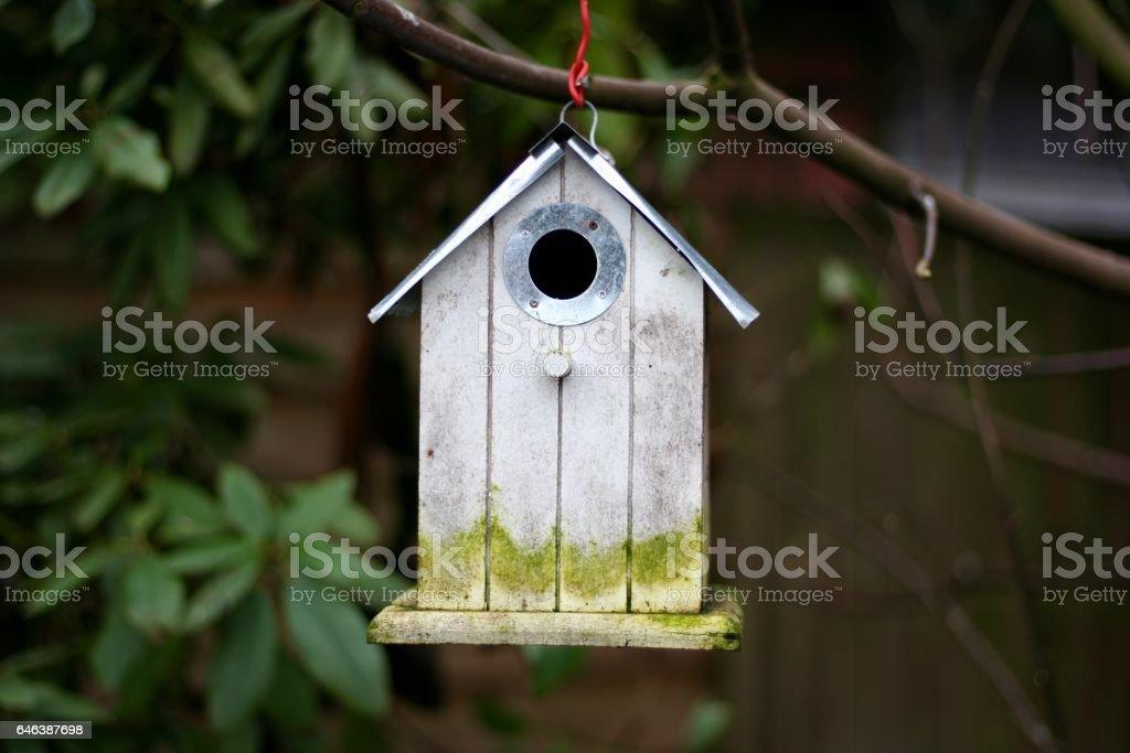 Very old bird house stock photo