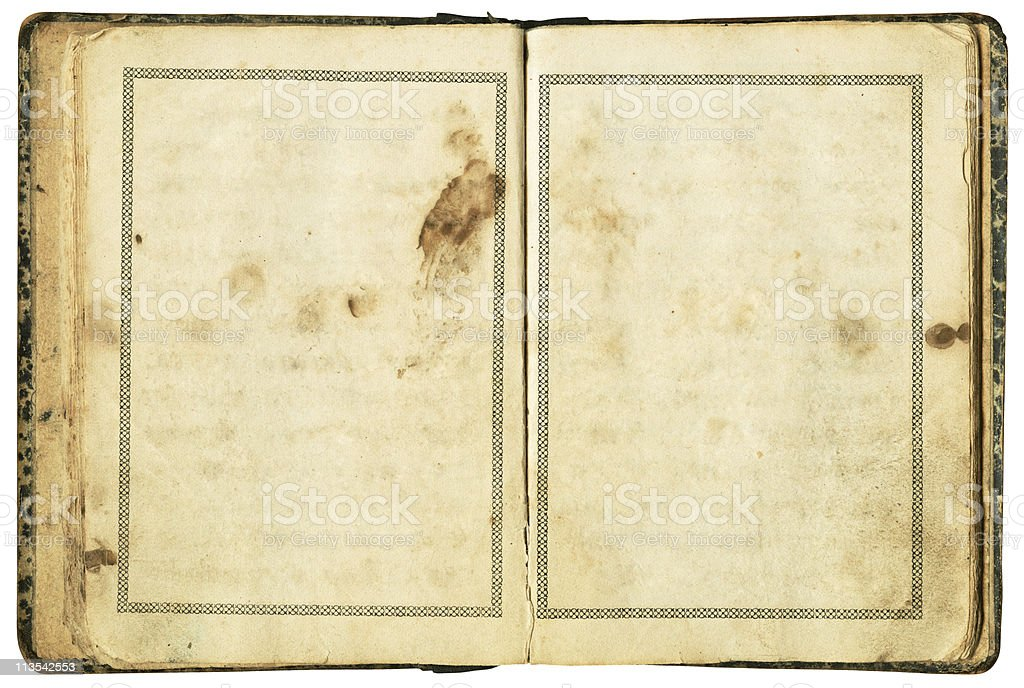 Very old book with clipping path on white background stock photo