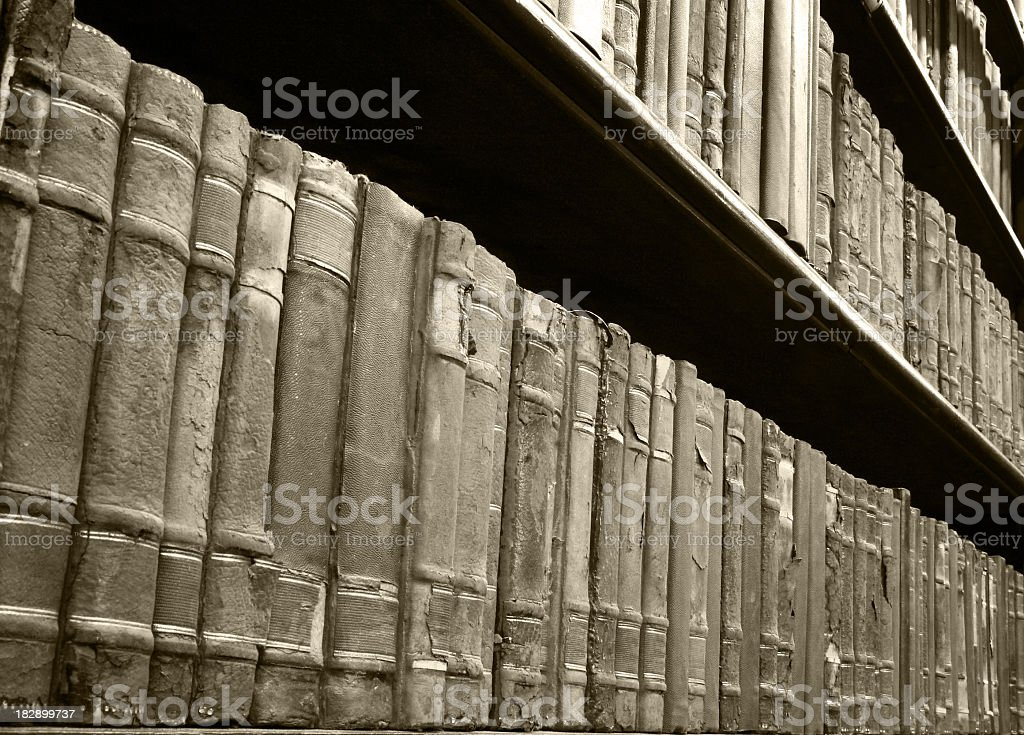 Very old books in a library royalty-free stock photo
