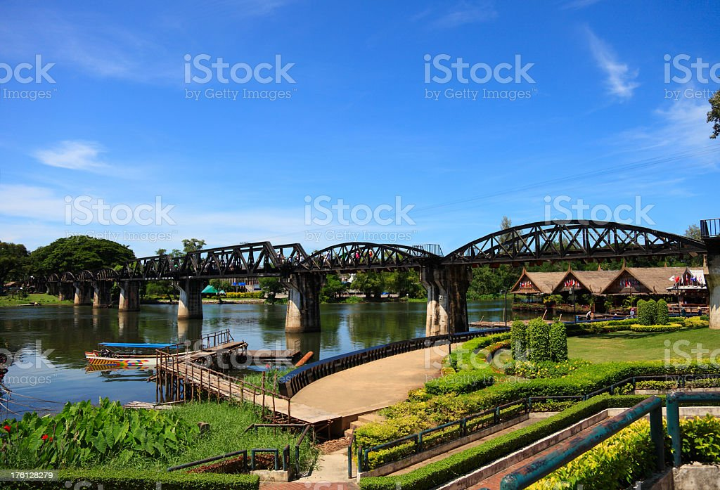 A very old bridge over the River Kwai in Thailand stock photo