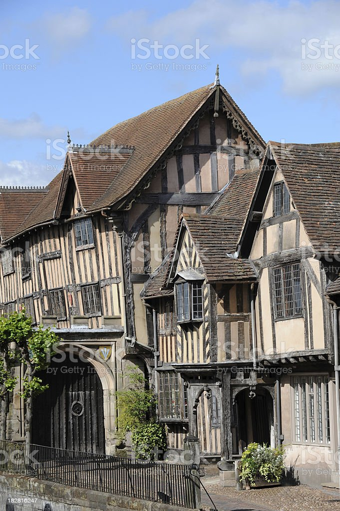 Very old buildings in Warwick England. stock photo