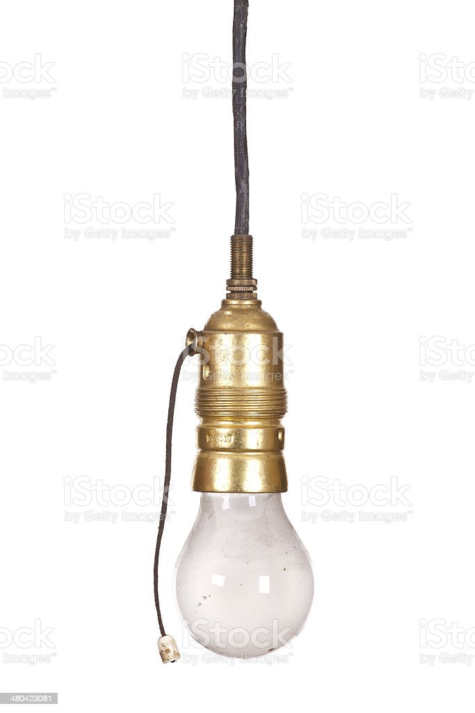 very old bulb fitting with light stock photo