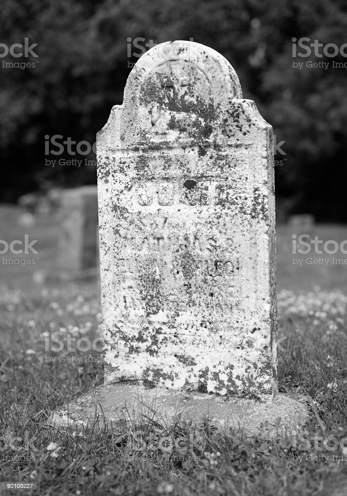 Very old b/w tombstone stock photo