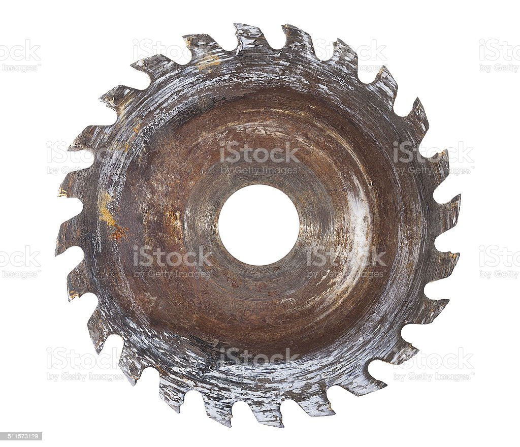 very old circular saw isolated on white background stock photo
