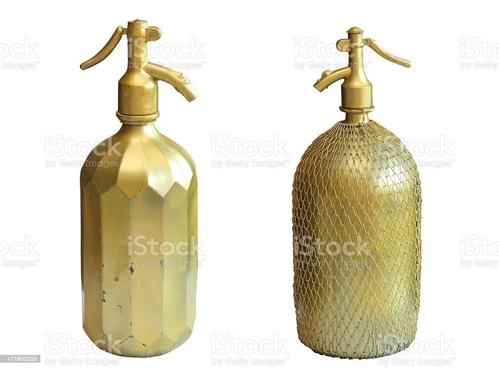 very old copper bottles for sparkling water royalty-free stock photo