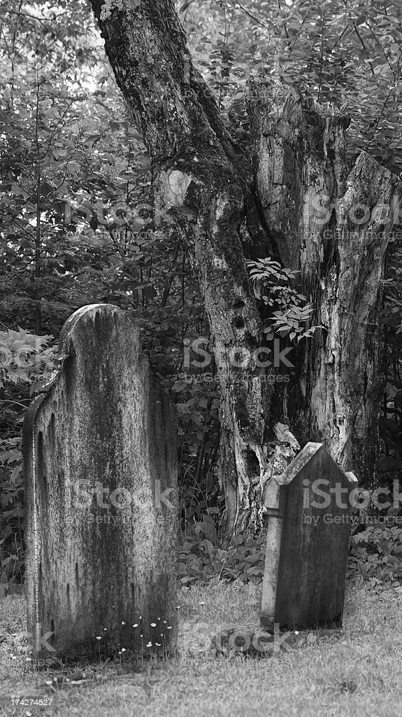Very old creepy graveyard royalty-free stock photo
