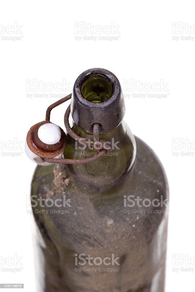 very old dusty bottle stock photo