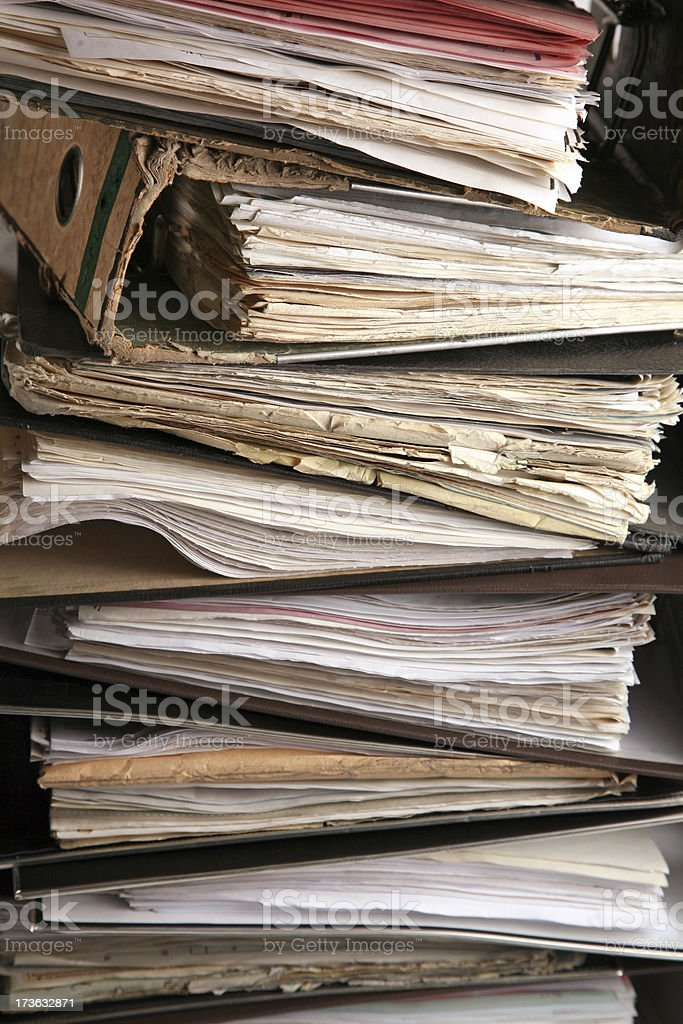 Very old files close-up stock photo