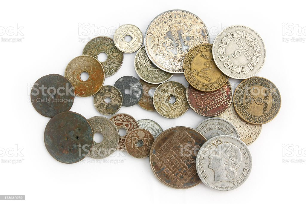 Very old French coins stock photo