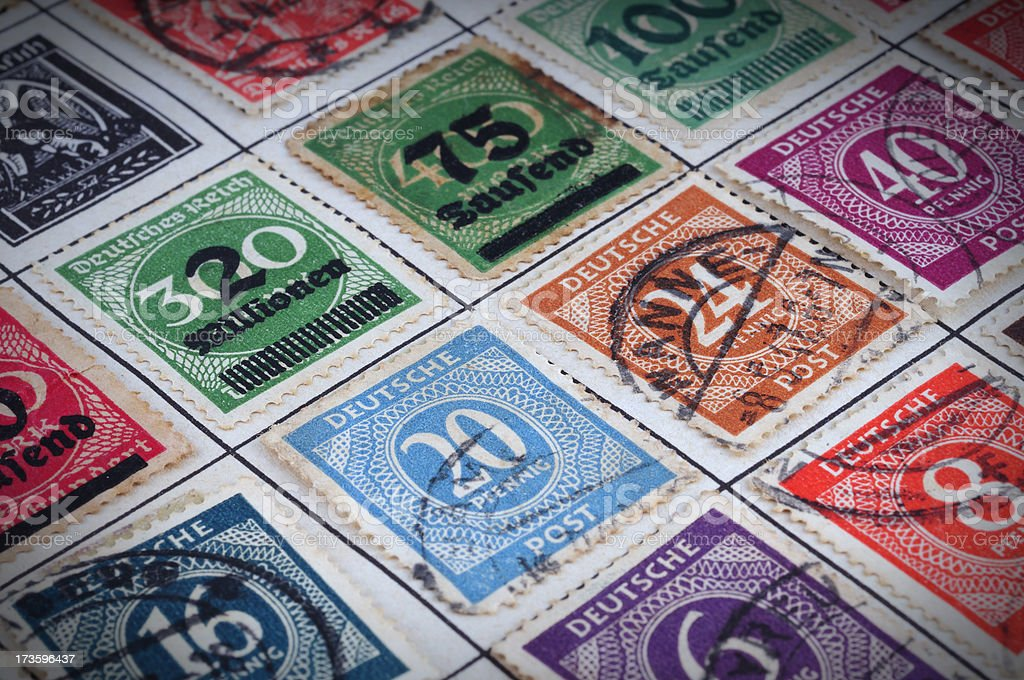 very old german postage stamps royalty-free stock photo