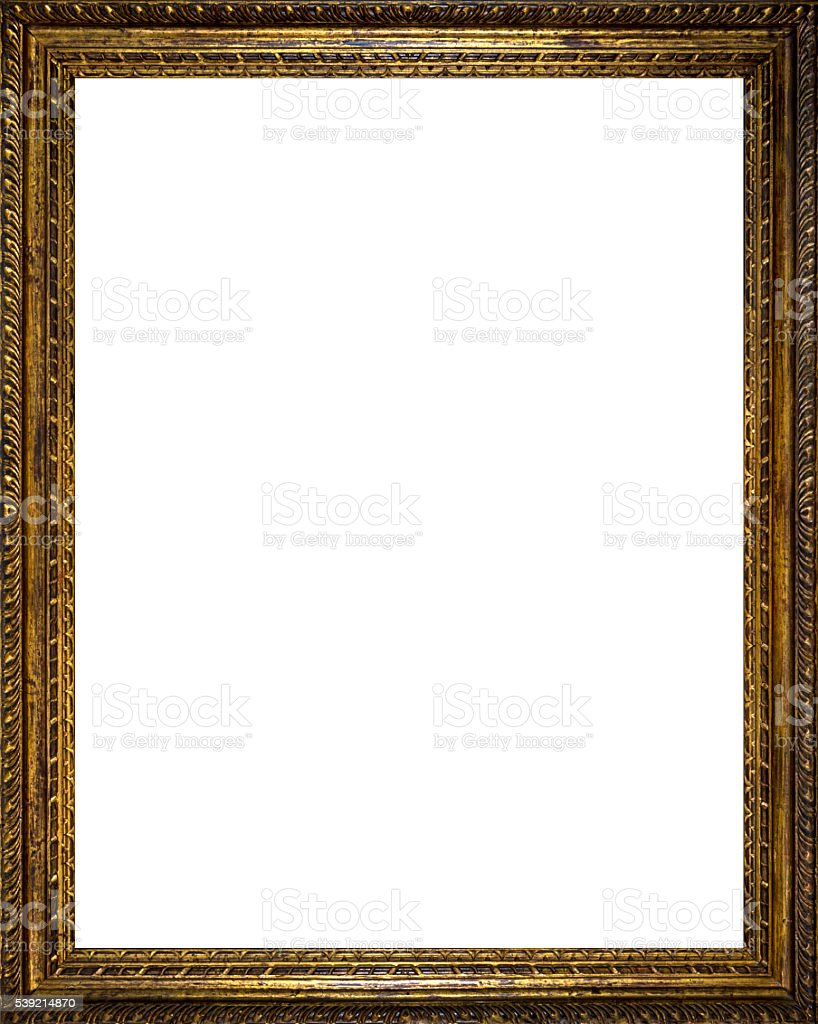 Very Old Golden Frame - vertical stock photo