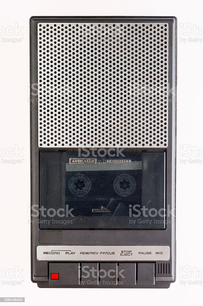 Very old K7 tape recorder stock photo