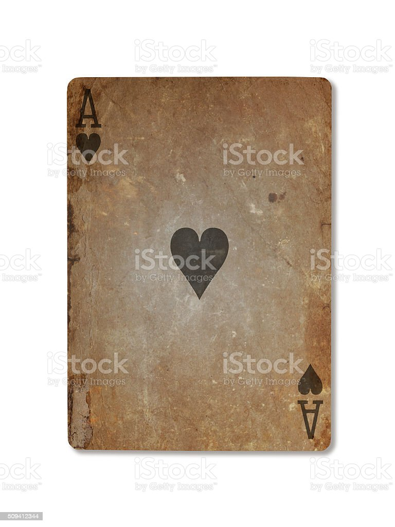 Very old playing card, ace of hearts stock photo