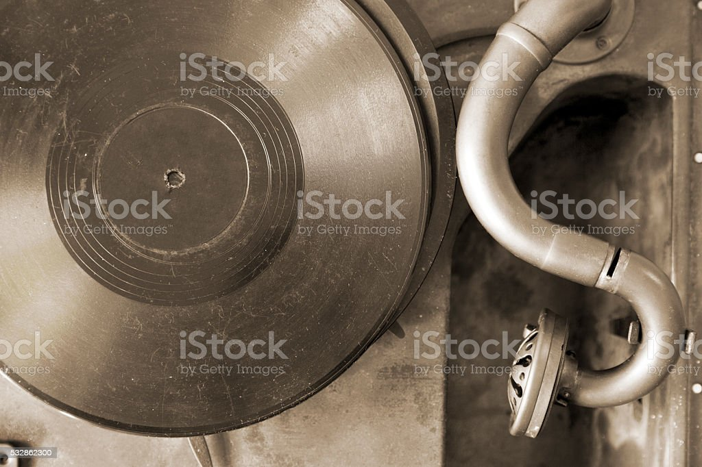 Very old record player stock photo