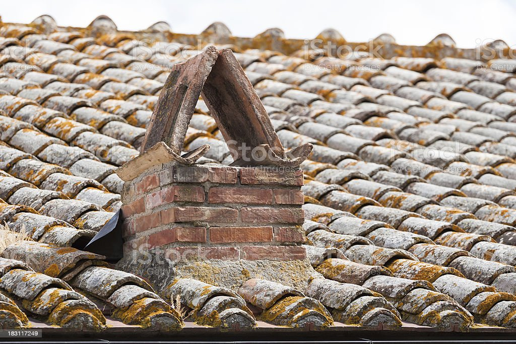 very old roof tiles stock photo
