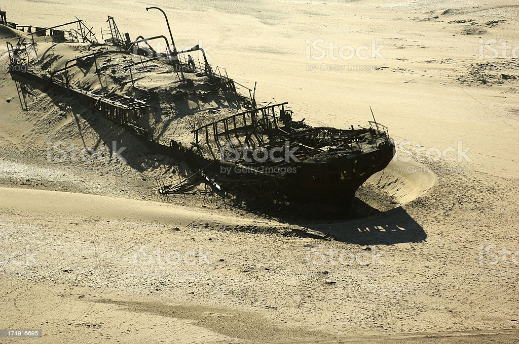 Very old shipwreck at the Namibian coast stock photo