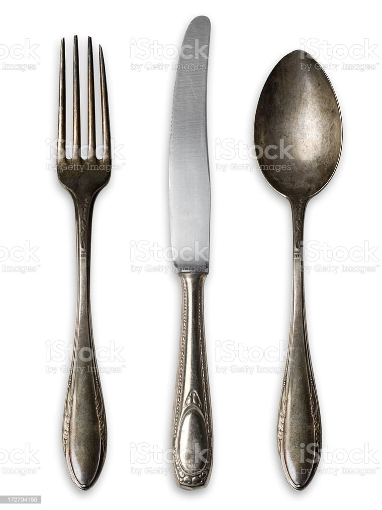 Very old Silverware (Fork,Knife,Spoon) royalty-free stock photo