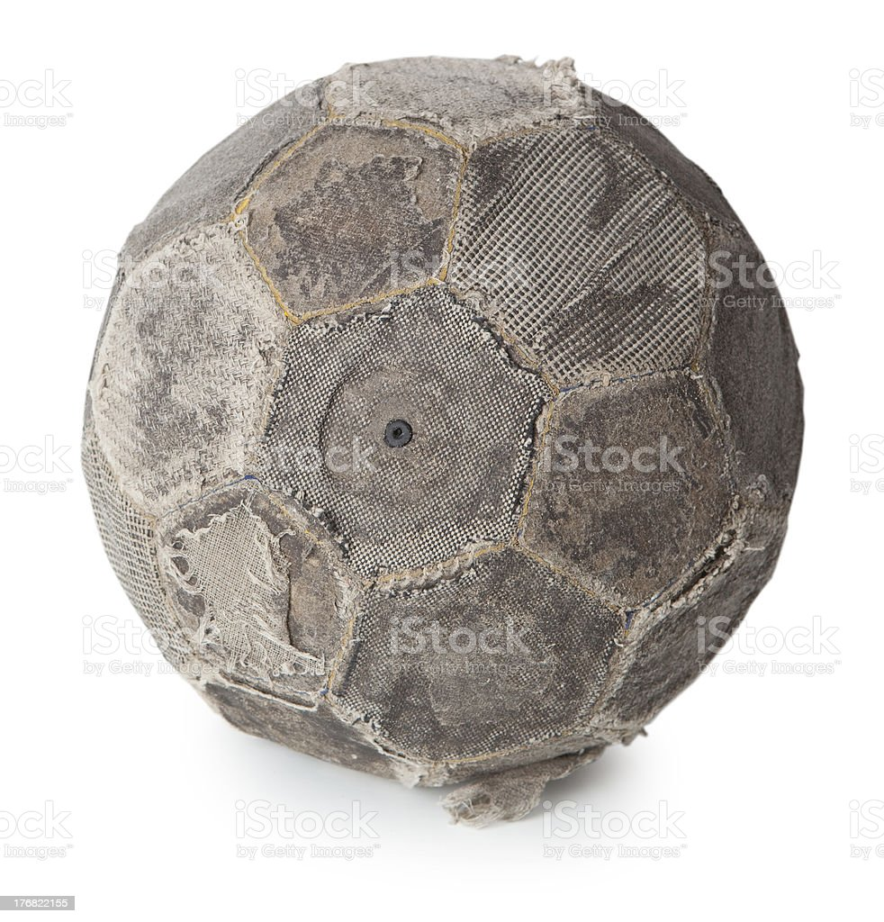 Very old soccer ball royalty-free stock photo