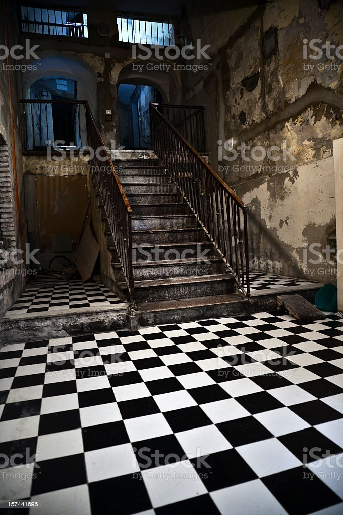 Very old staircase in Italy royalty-free stock photo