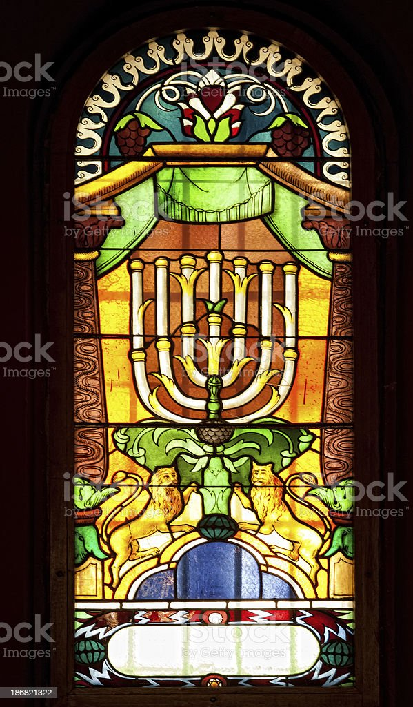 Very old Synagogue stained glass window royalty-free stock photo