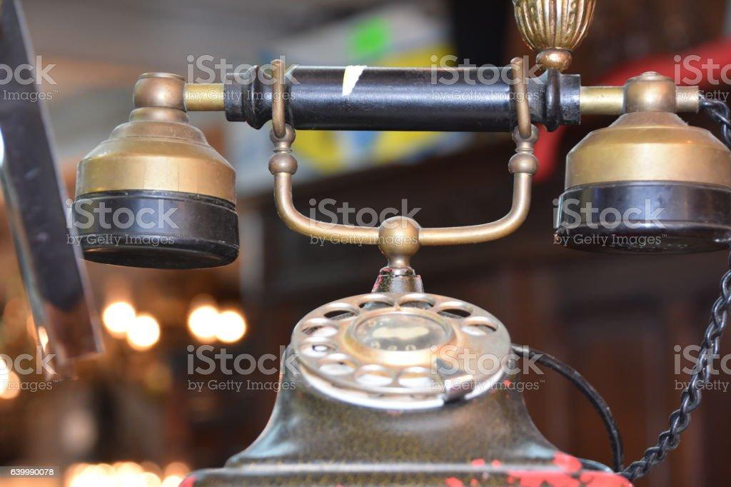 Very old telephone stock photo