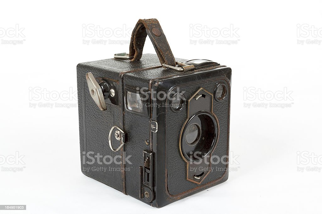very old vintage camera on white background royalty-free stock photo