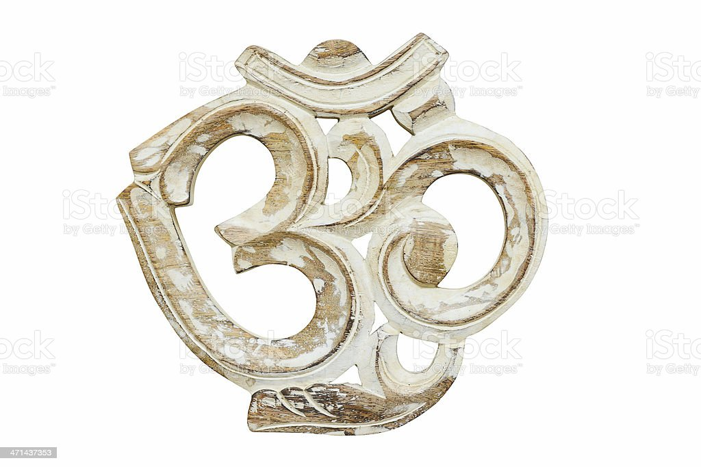 very old vintage yoga om sign isolated on white stock photo