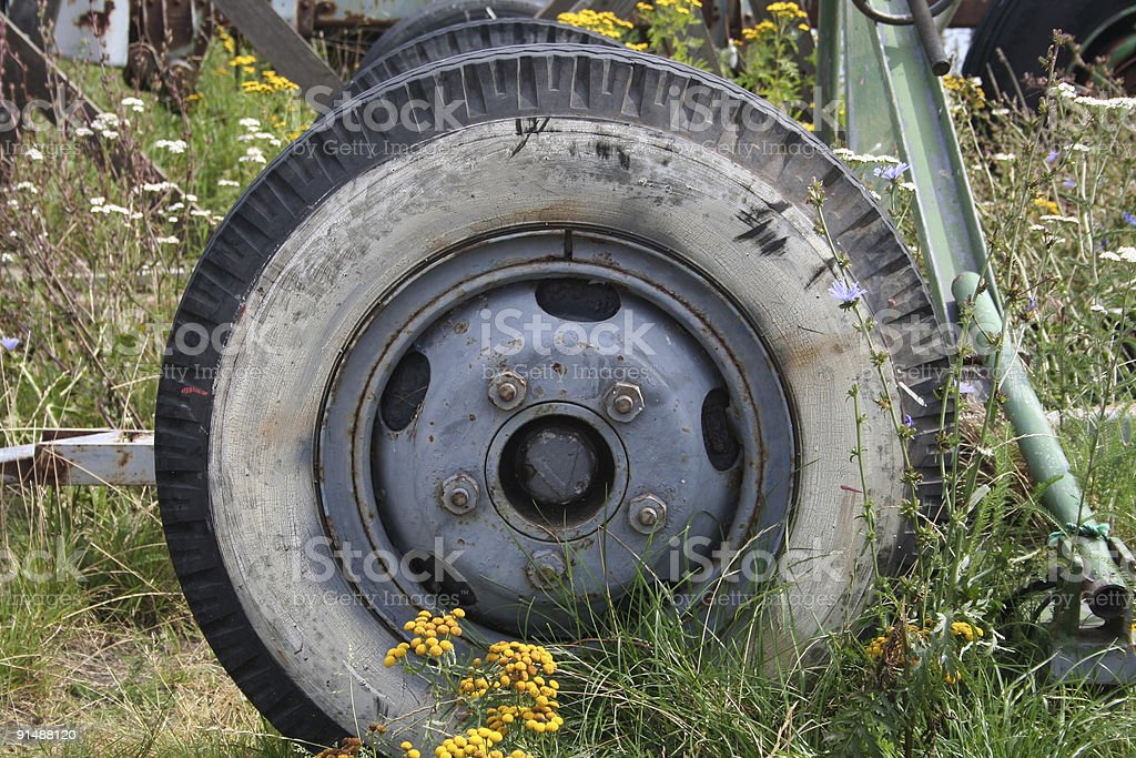Very old  wheel. stock photo