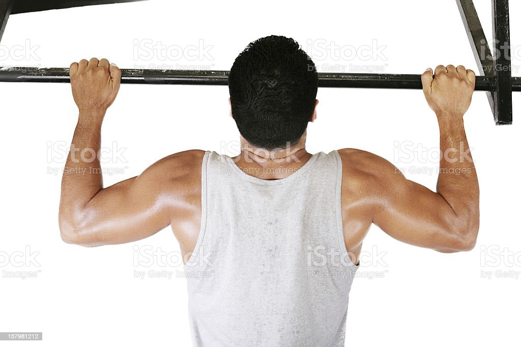 very power athletic guy, execute exercise tightening on bar royalty-free stock photo