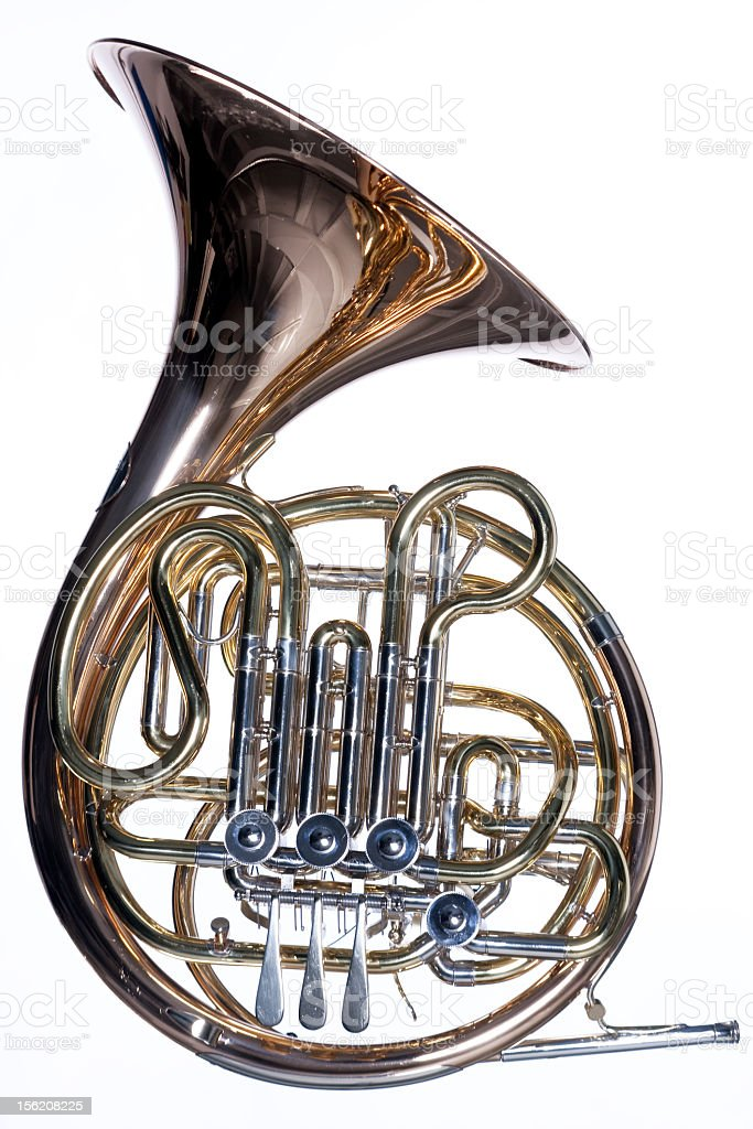 Very shiny French horn with brass reflections on white stock photo
