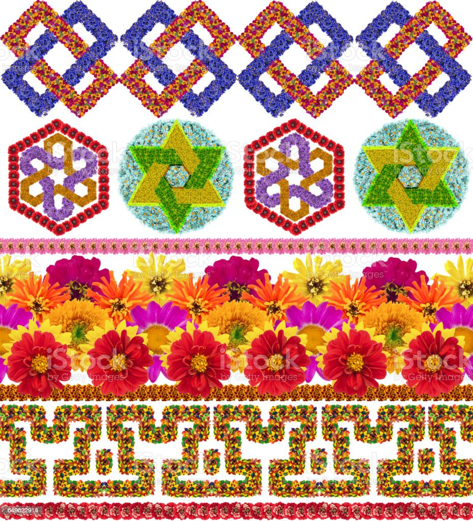 Very simple national traditional decorative patterns made from fresh flowers. Isolated handmade collage stock photo