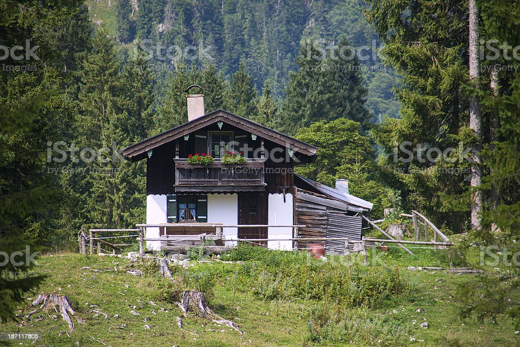 Very small rural house homestead near forest royalty-free stock photo
