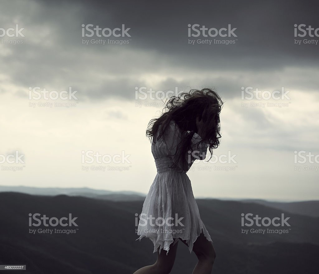 Very stressed woman. stock photo