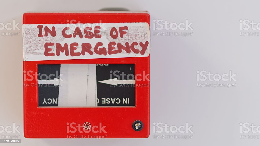 Very suspicious fire alarm fix. 'in case of emergency' stock photo