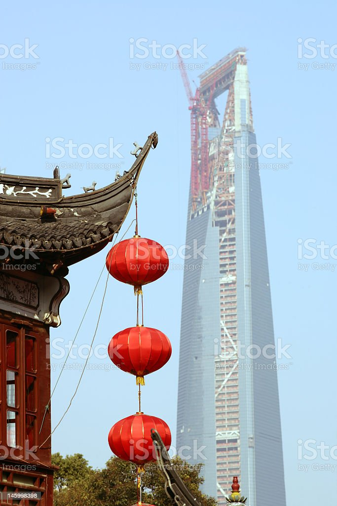 A very tall skyscraper under construction in Shanghai royalty-free stock photo
