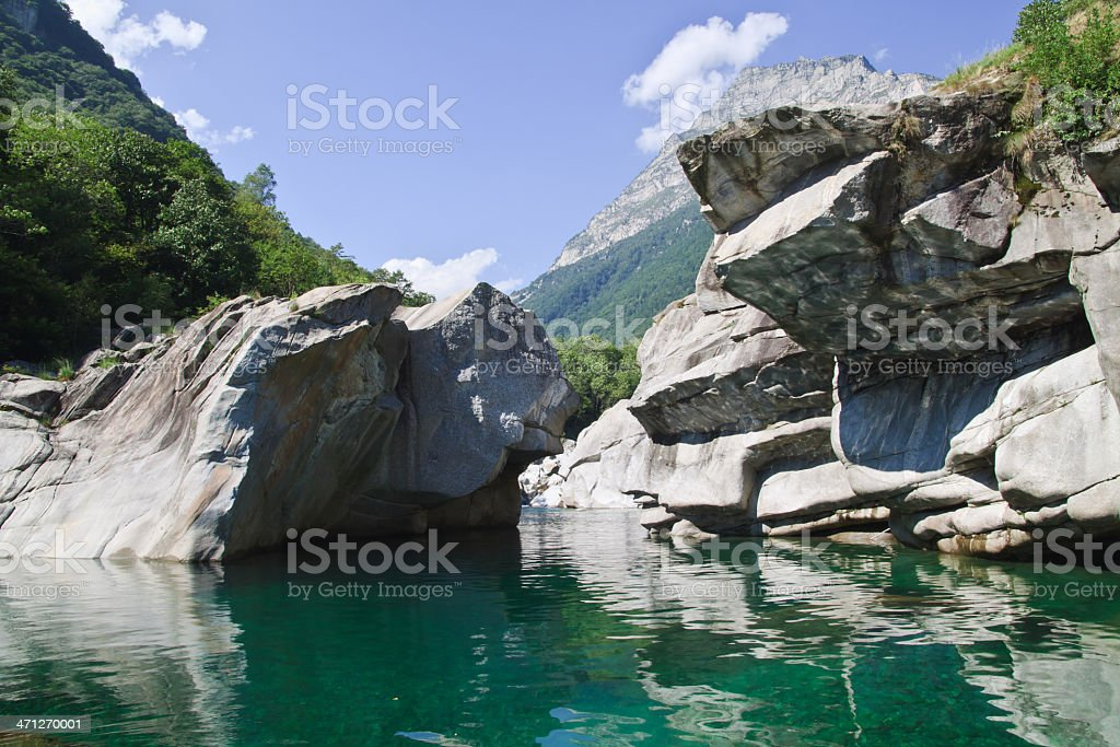 Verzasca valley river and canions stock photo