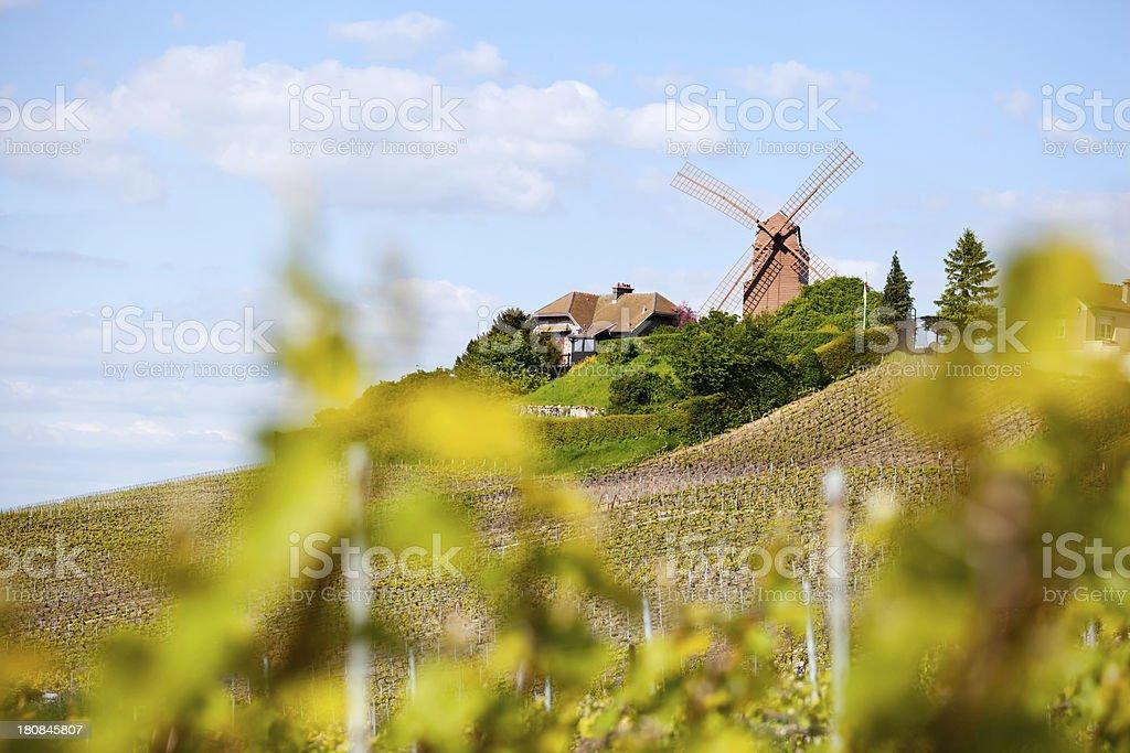 Verzenay Windmill Champagne stock photo
