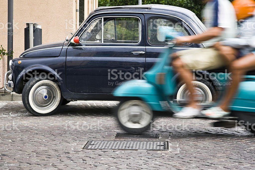 Vespa and Fiat 500 royalty-free stock photo
