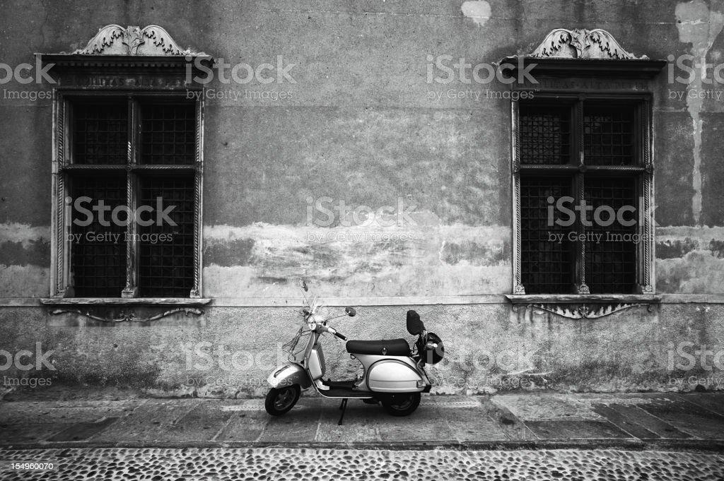 Vespa Piaggio. Black and White stock photo