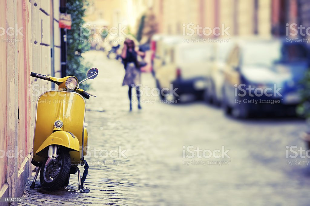 Vespa Scooter in Rome, Italy stock photo