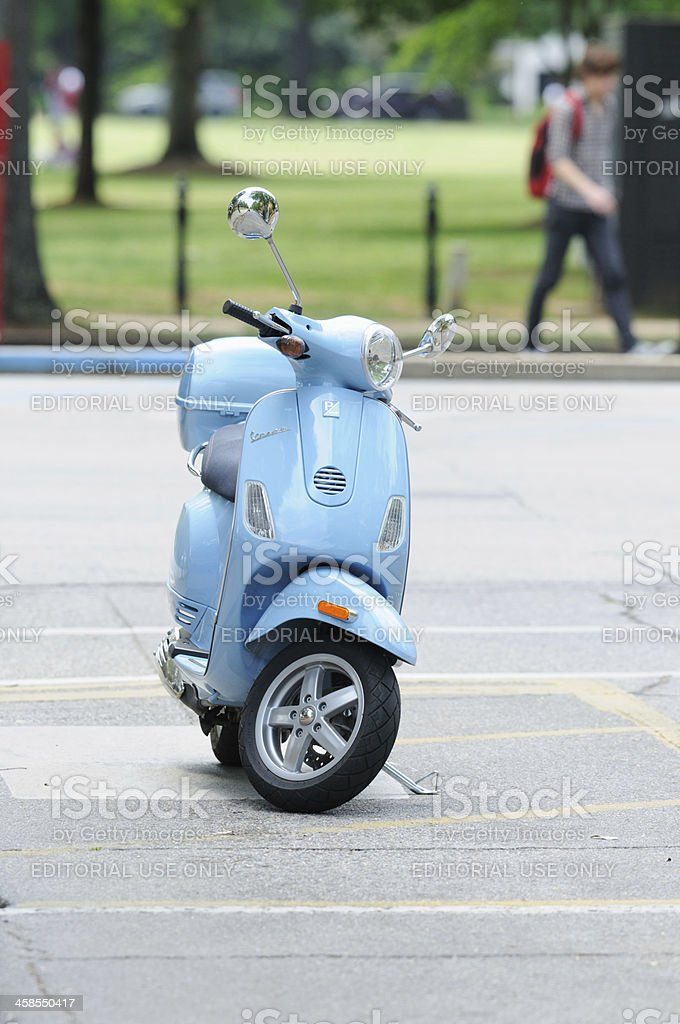 Vespa scooter on university campus stock photo