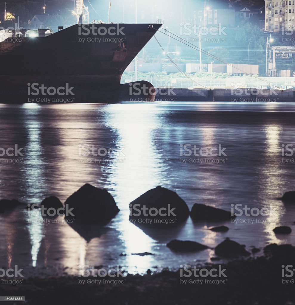Vessel Docked in Harbour stock photo