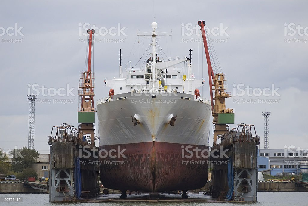 vessel in dry dock royalty-free stock photo