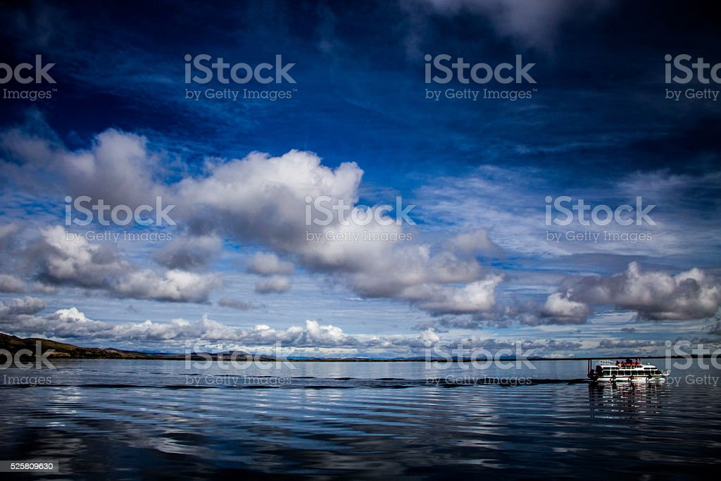 Vessel in Titicaca lake stock photo