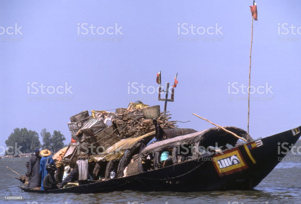 Vessel on Niger royalty-free stock photo