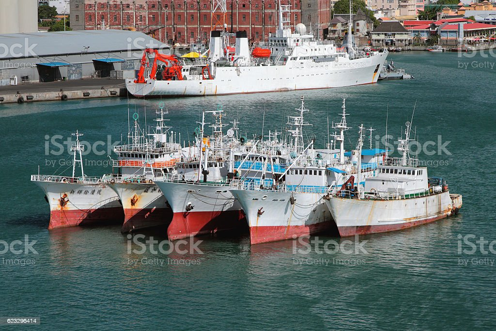Vessels on raid in port. Port Louis, Mauritius stock photo