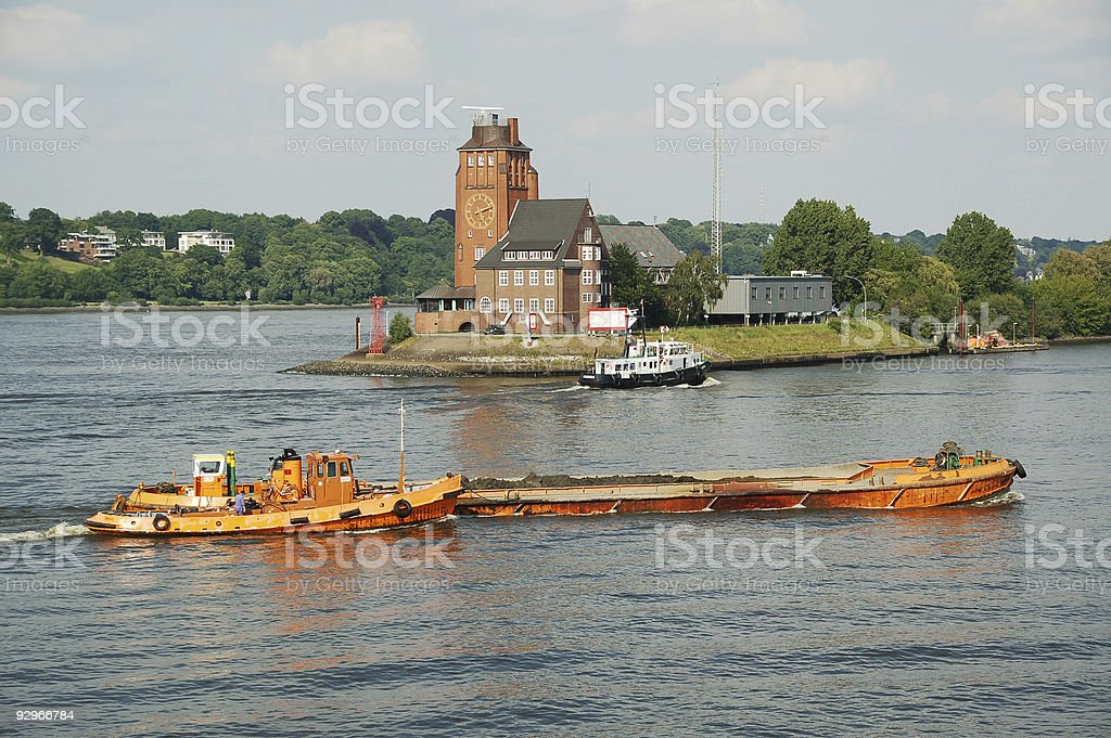 Vessels on River Elbe stock photo
