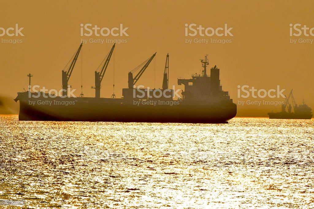 Vessels with beach water background stock image stock photo